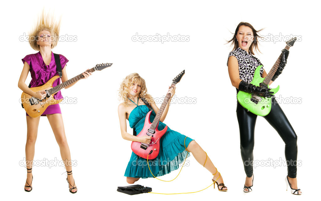 Three girls playing the guitar, isolated on white background — Stock Photo #5726562