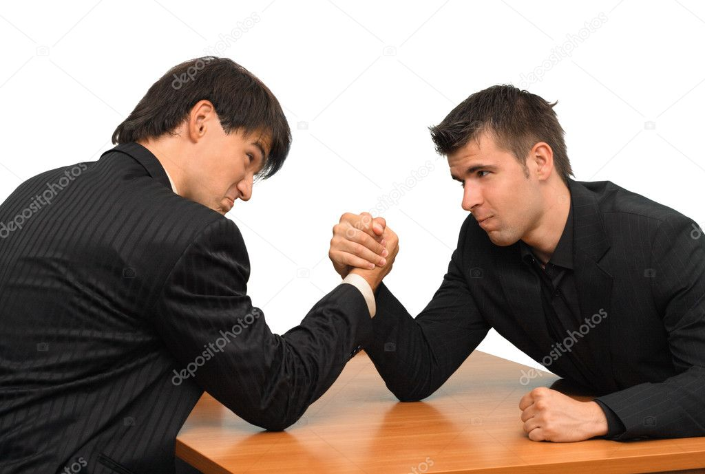 Two businessmen competing in arm wrestling — Stock Photo #5726779