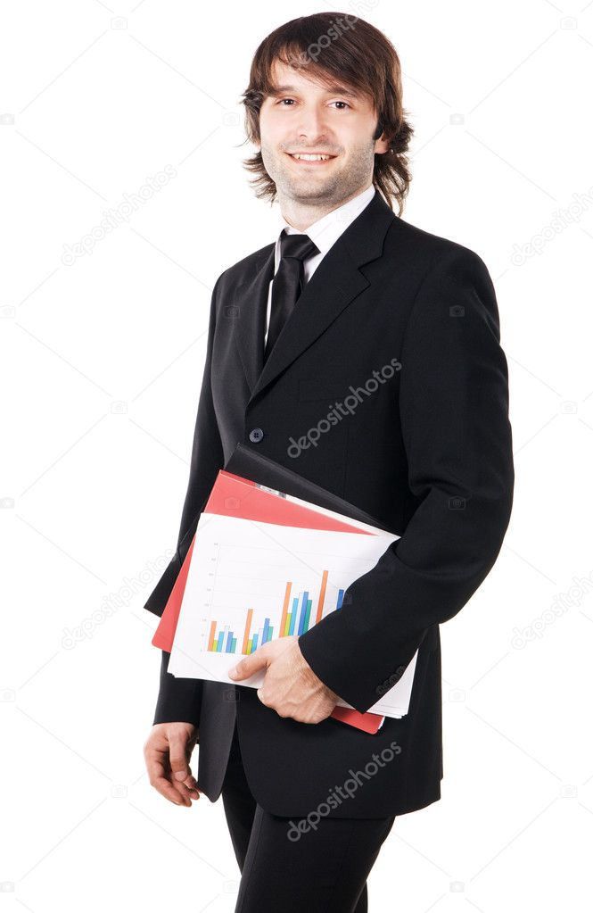 Cheerful businessman with a papers and folders against white background — Stock Photo #5726977