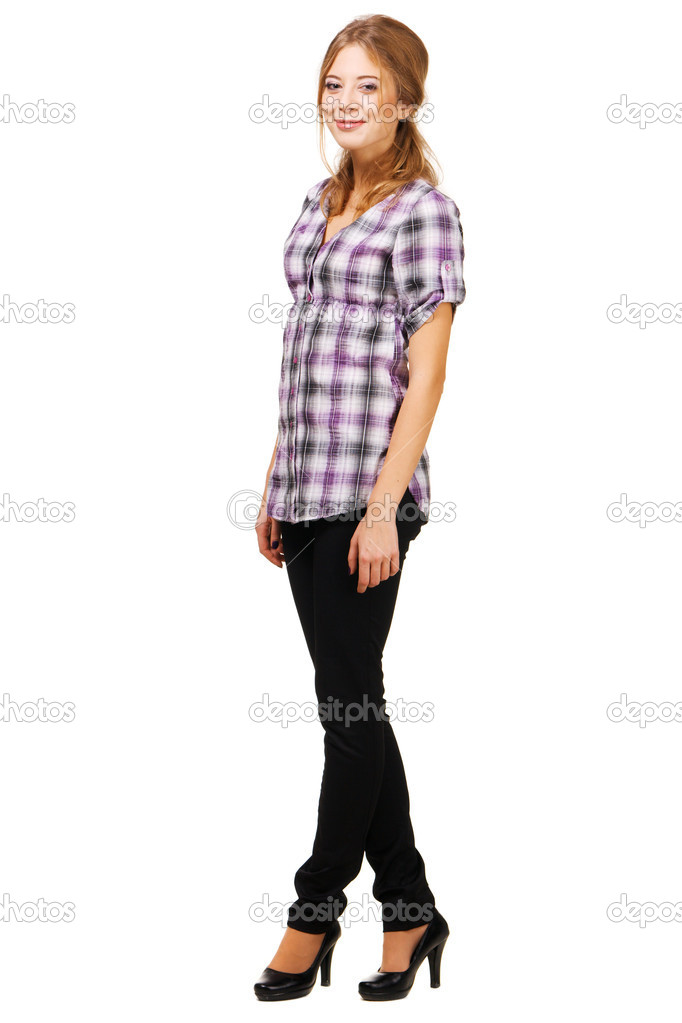Lovely young woman in casual clothing, white background   — Stock Photo #5727642