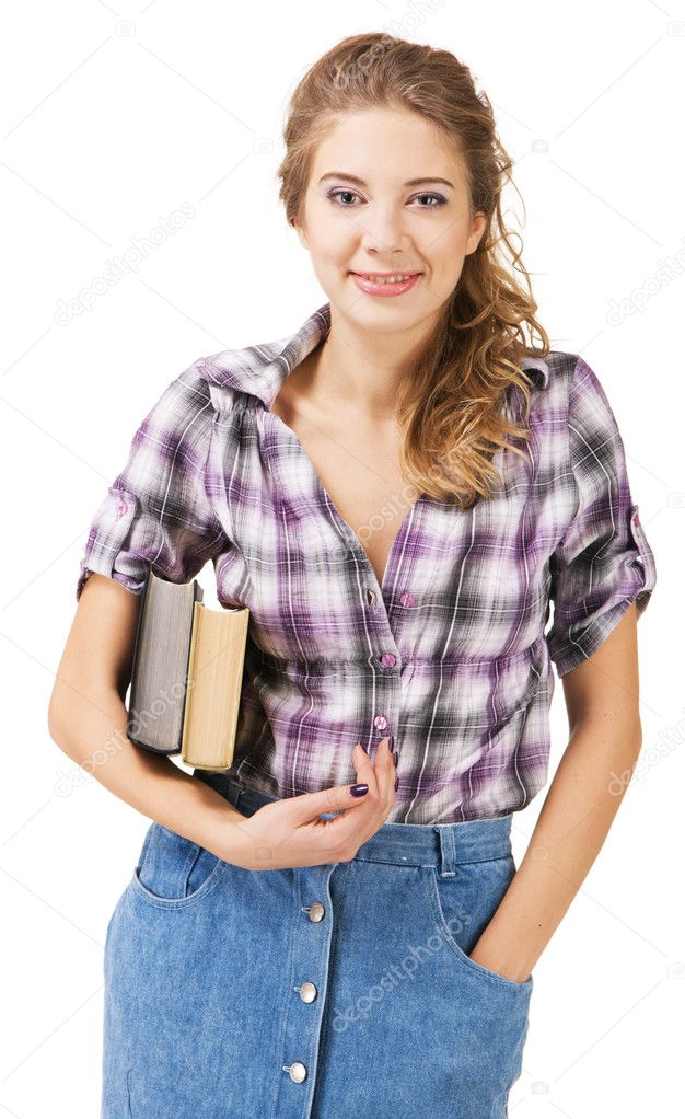 可爱的学生,一本书,女孩白色背景 — 照片作者 gdolgikh