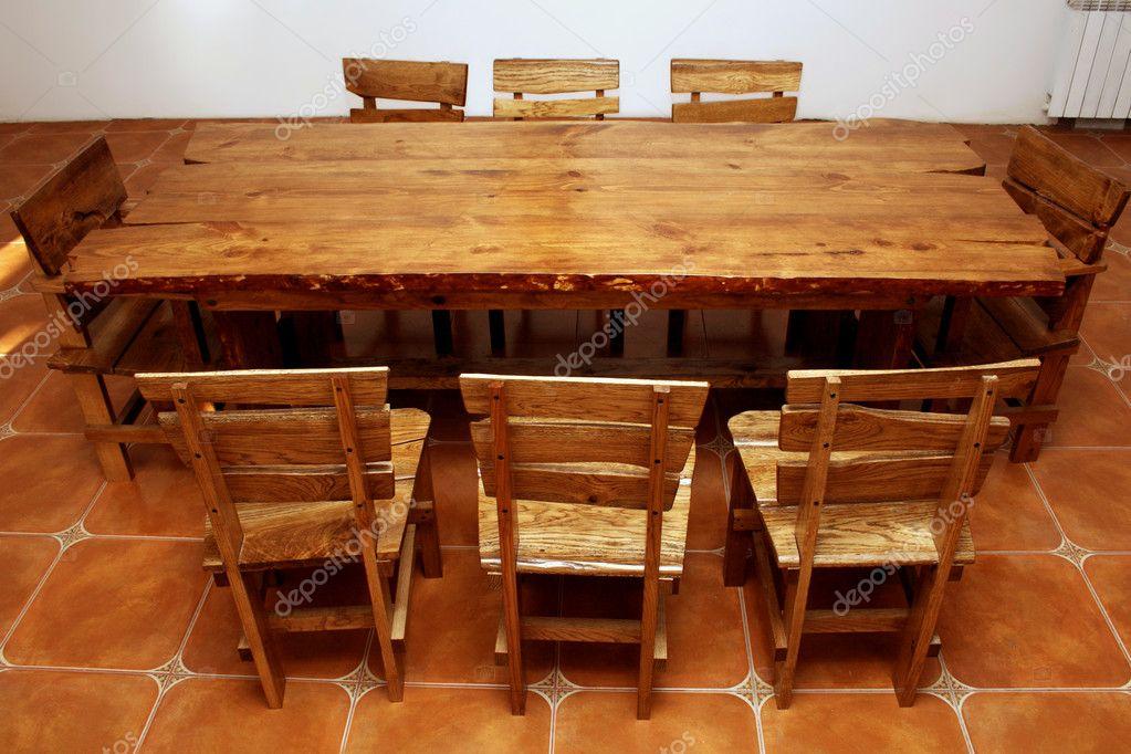Hand made large kitchen table stock photo gdolgikh for Large kitchen table