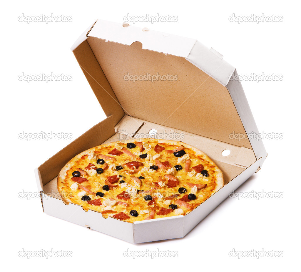 Pizza in a cardboard box, isolated on white — Stok fotoğraf #5728651