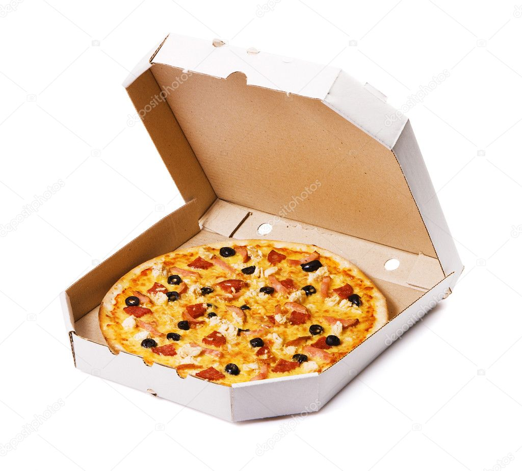 Pizza in a cardboard box, isolated on white  Photo #5728651