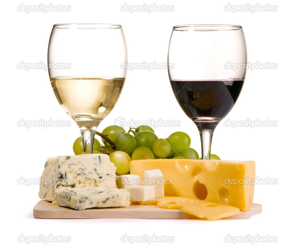Cheese, white and red wine, isolated on white background — Stock Photo #5728945