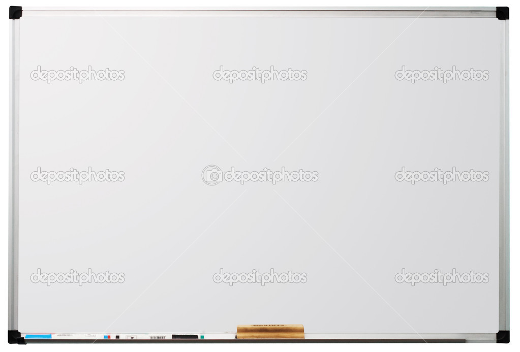 Modern whiteboard isolated on white background, with space for text — Stock Photo #5729537