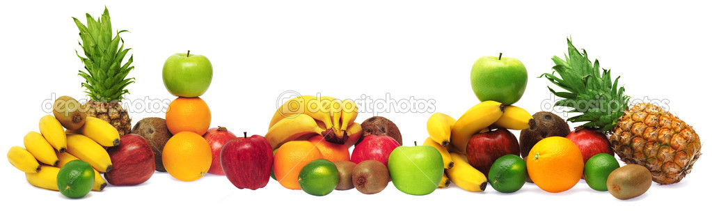 Group of fresh fruits isolated on white background — Stock Photo #5729631