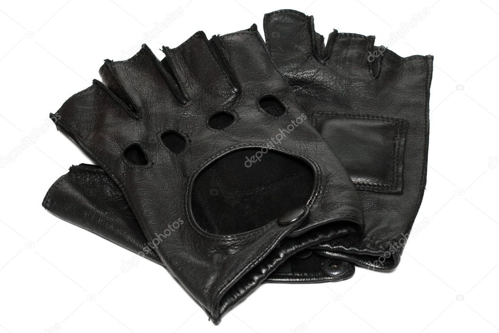 Pair of black leather gloves with open fingers isolated on white  Stock Photo #5729660