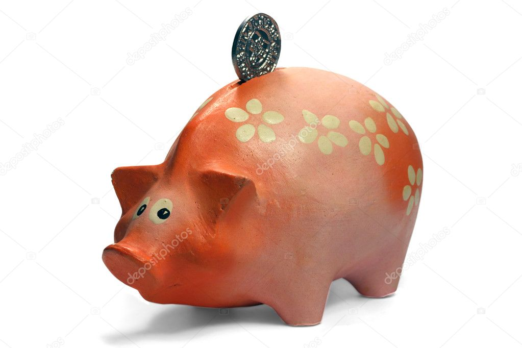Ruddy piggy bank made of clay isolated on white background — Stock Photo #5729815