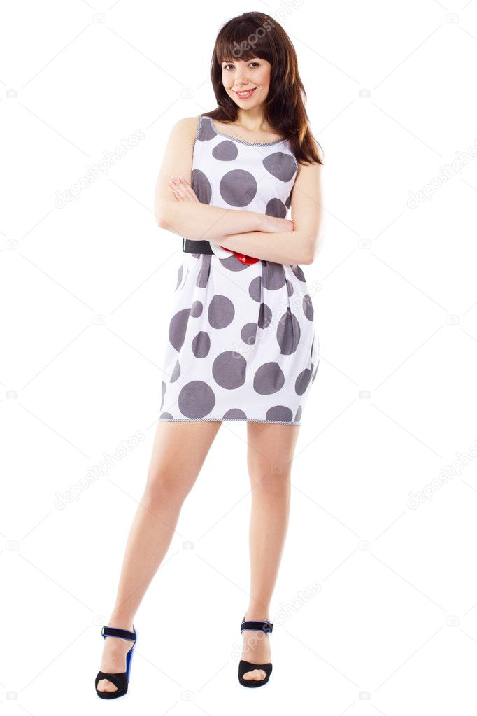 Playful cute woman in stylish dress, white background — Stock Photo #5730051
