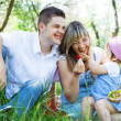 Young family of three on a picnic — Stock Photo #5757772