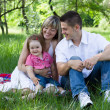 Young family of three on a picnic — Foto de Stock