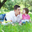 Young family of three on a picnic — Stock Photo #5757909