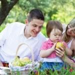 mladá rodina ze tří na piknik — Stock fotografie