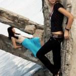 Fashion models outdoor photo — Stock Photo