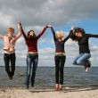 Girls having fun at the beach — Stock Photo #5758010