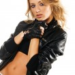 Beautiful woman in black leather jacket — Stock Photo