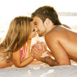 Romantic couple on the seaside — Stock Photo