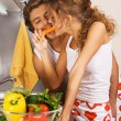 Young couple having fun in the kitchen — Stock Photo #5758470