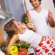 Young romantic couple in the kitchen — Stock Photo #5758471