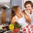 Young romantic couple in the kitchen — Stock Photo #5758473
