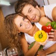 Young romantic couple in the kitchen — ストック写真 #5758484