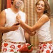 Young romantic couple in the kitchen — Stock Photo #5758493