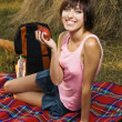 Lovely girl on picnic — Stock Photo
