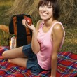 Stock Photo: Lovely girl on picnic