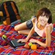 Lovely girl on picnic — Stock Photo #5758644