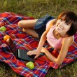 Lovely girl having a rest outdoors — Stock Photo #5758647
