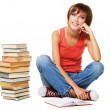 Lovely student with a stack of books — Stock Photo