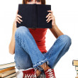 Lovely student girl with books — Stok fotoğraf