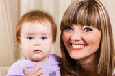 Happy mother with cute little daughter — Stock Photo