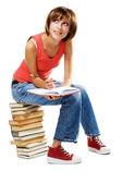 Śliczny student wiele książek — Zdjęcie stockowe