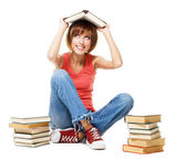Funny student girl with lot of books — Stock Photo