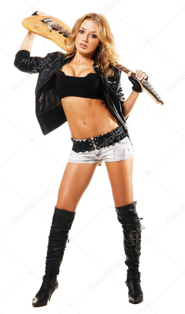 Фотообои Сексуальная девушка с электрической гитарой.