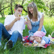 Young family of three on a picnic — Stock Photo #6069371