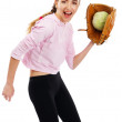 Young woman holding a cabbage — Stock Photo