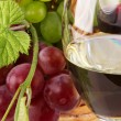 Stock Photo: Red and white wine, with bunches of grapes
