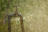 Rusted tap spraying water — Stock Photo