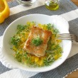 Fish with yellow pepper and cress — Stock Photo #5394358