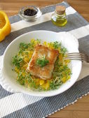Fish with yellow pepper and cress — Stok fotoğraf
