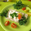 Crispbread with watercress cream cheese — Stok fotoğraf