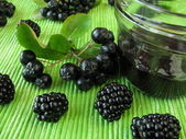 Jam with black chokeberry and blackberry — Stock Photo