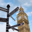 Big Ben and street signs — Stock Photo