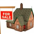 3D House and sign For Sale - Stock Photo