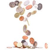Britische münzen fallen — Stockfoto