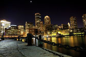 Boston harbor at night — Stock Photo