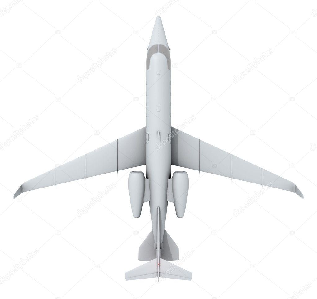 飞机在白色背景上的顶视图